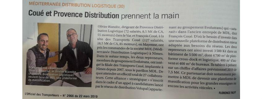 Transports Coué, MDL & Provence Distribution Logistique dans l'Officiel des Transporteurs