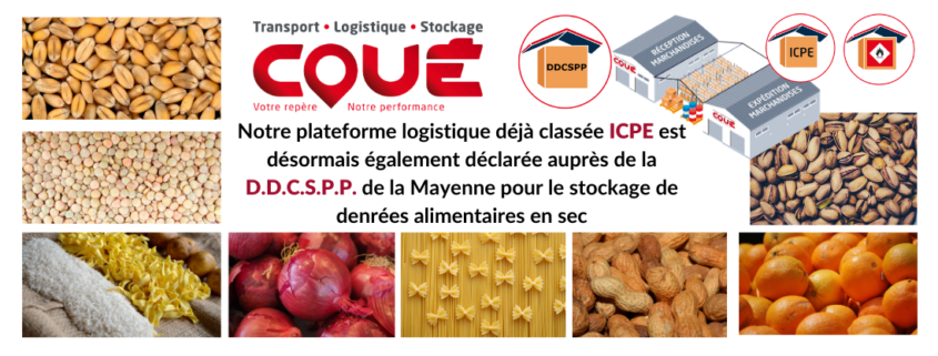 Notre plateforme logistique déjà classée ICPE est désormais également déclarée auprès de la D.D.C.S.P.P. de la Mayenne pour le stockage de denrées alimentaires en sec