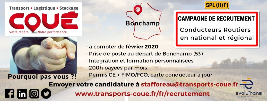 Transports Coué campagne de recrutement conducteurs 2020