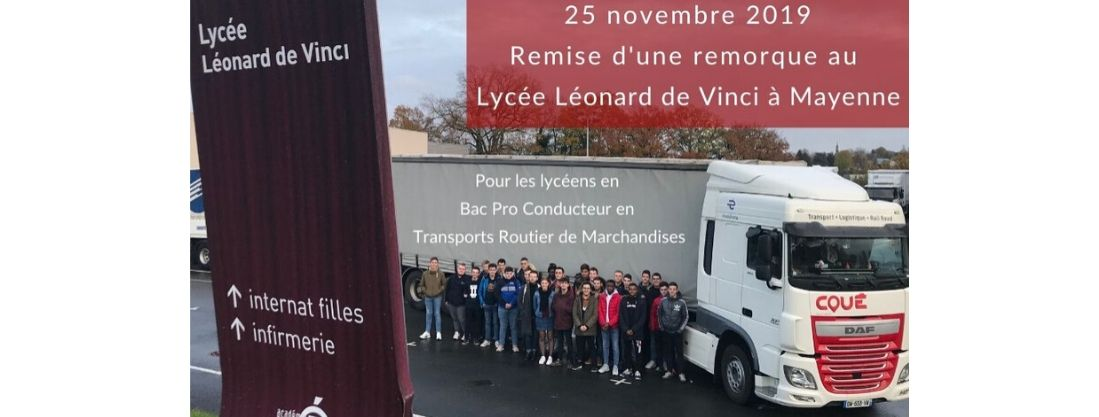 Transports Coué remise d'une remorque Tautliner aux Lycéens Bac Pro Conducteurs Transport routier