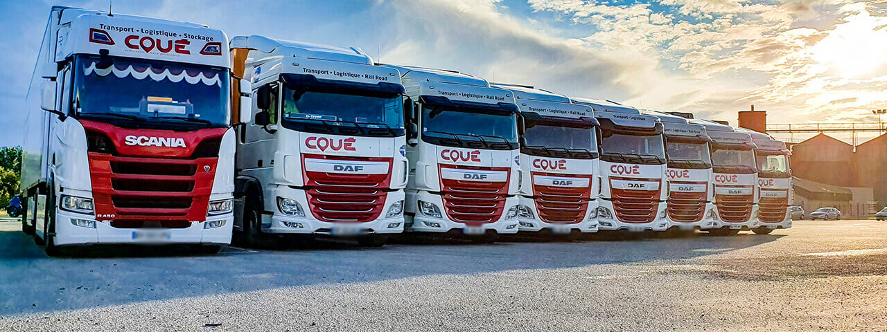 Parc camions Daf et Scania Transports Coue