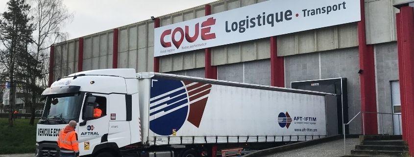 L'AFTRAL se rend à l'entrepôt logistique des Transports Coué pour réaliser des exercices de manœuvres