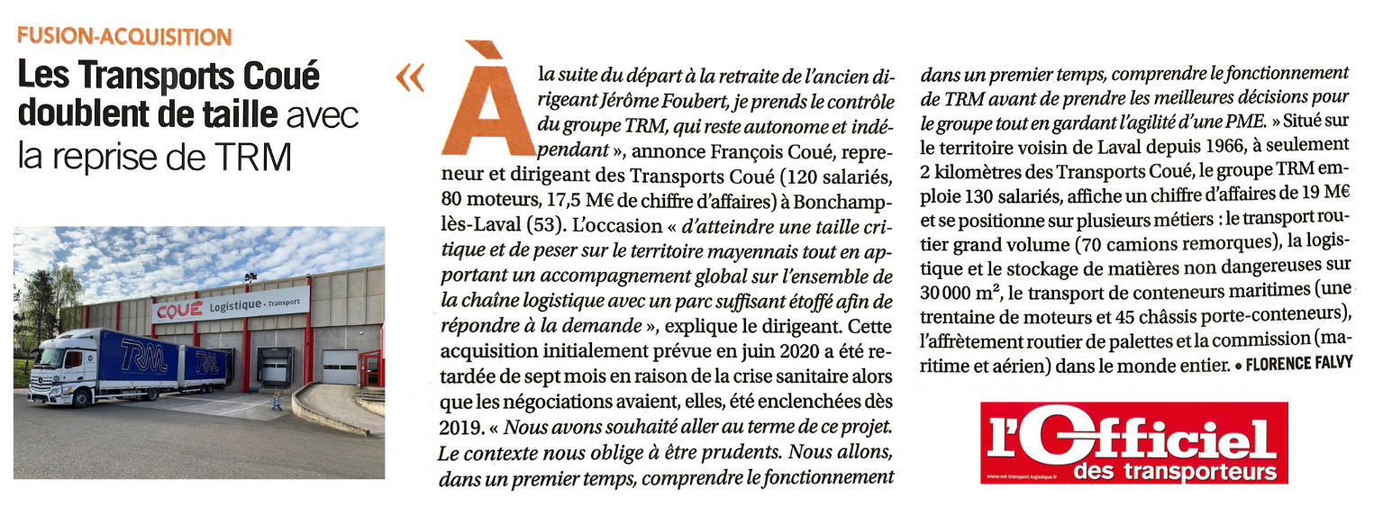 L'Officiel des Transporteurs write an article about the alliance of Transports Coué and the TRM Group