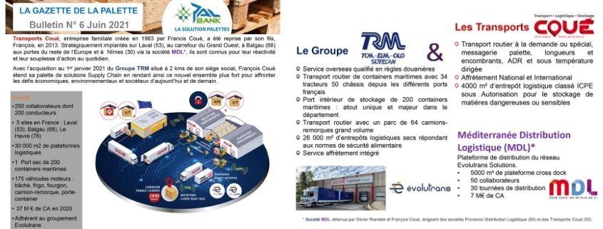 Présentation Transports Coué, TRM et MDL dans la Gazette de PFM PALBANK