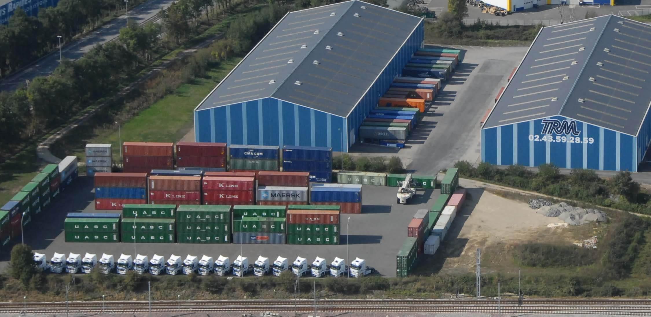 Port sec, stockage containers prestation transport de container des Transports Coué